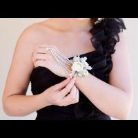 White Rose Diamante Wrist Corsage with ring attachment